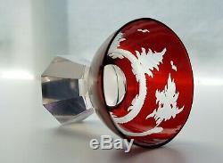 Art Deco Antique Bohemian Ruby Cut to Clear Decanter/Carafe Set/ Nový Bor/Haida