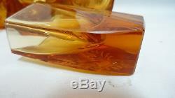 Art Deco Bohemia Moser Decanter + 6 Glasses Amber Uranium Vaseline Cut Crystal