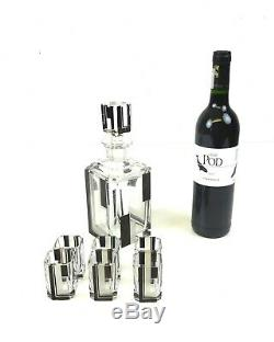 Art Deco Bohemian Geometric Glass Cut Whisky Decanter 6 Glasses By Karl Palda