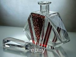 Art Deco Bohemian Karl Palda Clear Cut Glass Ruby Red Enamel Decanter Set