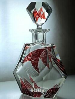 Art Deco Bohemian Karl Palda Ruby Red Enamel Clear Cut Glass Decanter &2glasses