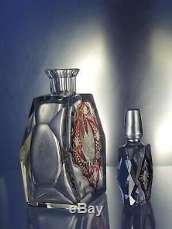 Art Deco Bohemian Ruby Cut to Clear Decanter/Carafe &2 glasses/ Haida