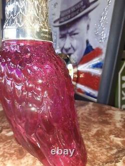 Art Deco Cocktail Shaker decanter Cut Glass Cranberry Pink Silver Parrot