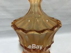 Art Deco Czech Bohemia Decanter Masive Amber Uranium Vaseline Cut Crystal