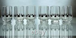 Art Deco Czech Modernist Cut Glass Liquor Decanter / Carafe Set Karl Palda