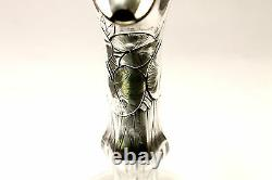 Art Noveau Vintage Carafe Pitcher Sterling Silver Crystal Cut Glass Flowers