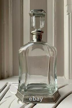 Arte Italica Glass Decanter, Pewter, Vintage Style, Made in Italy