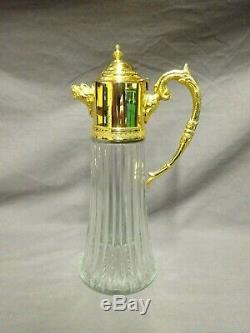 Attractive Vintage Glass & Gold Plated 11 Claret Jug / Decanter