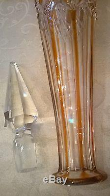 Baccarat Cut To Clear Decanter 16.2 Tall Antique Rare French Crystal