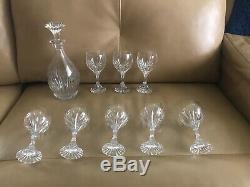 BACCARAT MASSENA Cut Crystal France 10 Pc Whiskey / Wine Decanter & Glasses Set