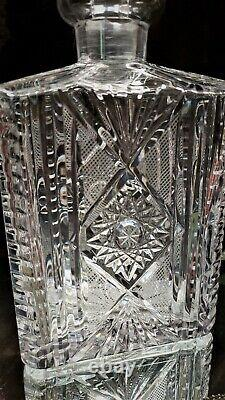 BEAUTIFUL Antique Crystal CUT Glass Rectangle Decanter CUT TO PIECES