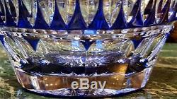 BEAUTIFUL RARE PAIR of 60s, 70s COBALT BLUE CUT to CLEAR Crystal Glass Decanters
