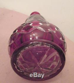 BIG antique etched cut to clear cranberry Czech Bohemian crystal glass decanter