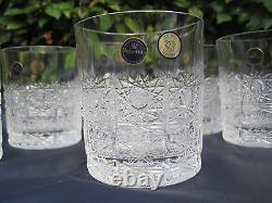 BOHEMIA QUEEN HAND CUT 24% LEAD CRYSTAL WHISKY GLASS 11 OZ (320 ml) MINT 6 PC