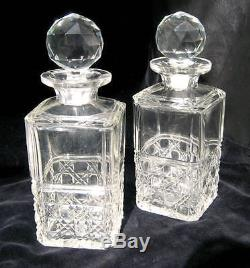 Brilliant Heavy Cut Glass Crystal Liquor Decanter Bottle With Stopper Pair