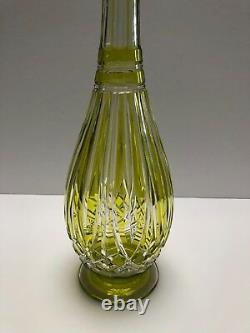 Baccarat Lime Green Cut To Clear Decanter Extremely Rare
