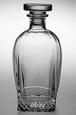 Barski European Cut Crystal Square Whiskey Decanter With Stopper- 28oz. 8.3Height