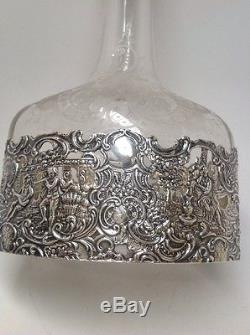 Beautiful Cut Etched Glass Sterling Silver Overlay Rococo Style Decanter Cherub