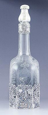 Beautiful Cut Glass & Mauser Sterling Silver Overlay Rococo Style Decanter