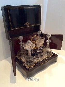 Beautiful late 19thC. French Boulework Ebonised Liqueur decanter set