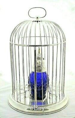 Blue Glass Bird Decanter Claret Jug in a Silver plated Cage 8 Liqueur Glasses