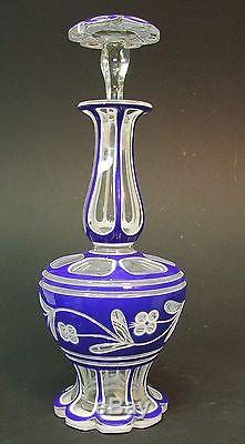 Blue, White Cut to Clear Glass Bohemian Decanter 12 3/4 Tall