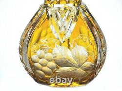 Bohemian Amber Gold Cut to Clear Glass Crystal Wine Decanter Silver Collar
