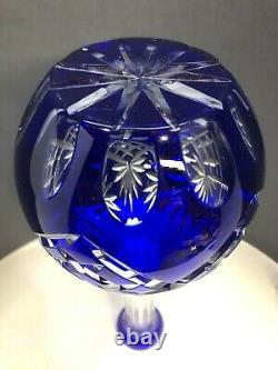 Bohemian Cobalt Blue Cut to Clear Large Crystal Decanter 15.5 inches T