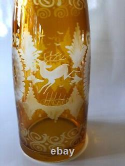 Bohemian CrystalANTIQUE CUT TO CLEAR ETCHED WILDLIFE WINE DECANTERExcellent
