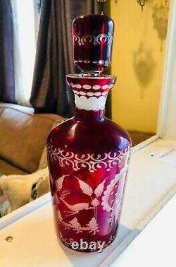 Bohemian Crystal Ruby red cut to clear decanter antique vtg many pics! Rare