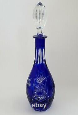 Bohemian Cut To Clear Crystal Decanter 13.75 Tall Cobalt Blue Grapes Nachtmann