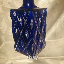 Bohemian Cut To Clear Crystal Decanter 9-in Cobalt Blue Thumbprint Xs Pattern