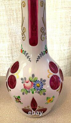 Bohemian Czech Cased Glass White Cut To Cranberry Red Decanter 15 Nice Colors