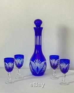 Bohemian Czech Crystal Cobalt Blue Cut to Clear Decanter Set & 4 glasses. Mint