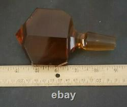 Bohemian Czech Moser Amber Decanter and Glasses