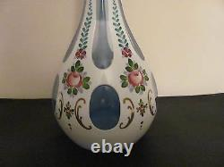 Bohemian Czech Moser White Cut To Clear Blue 16 Decanter Numbered Beautiful