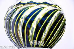 Bohemian Moser Tri Color Cut to Clear Glass Wine Cordial Liqueur Decanter 12