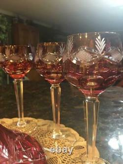 Bohemian Ruby Flash Red Cut To Clear 10 inch DECANTER with stopper and 6 GOBLETS