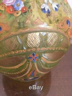 Bohemian Yellow cut glass and enameled antique decanter