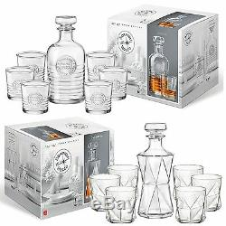 Bormioli Rocco Premium Whiskey Wine Decanter & 6 Glass Tumblers Gift Boxed Set
