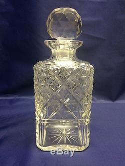 Brilliant Cut Glass Crystal Liquor Decanter Bottles with Stopper Pair