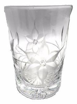 Canastota Glass Diamond Poinsettia 12+ Decanter with Stopper and Glass Tumbler
