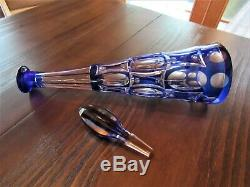 Cobalt Blue Cut to Clear Wine Liquor Decanter 17 Tall Bohemian VGC