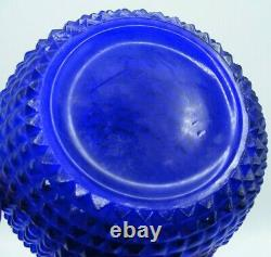 Cobalt Blue Empoli Italian Art Glass Diamond Cut Decanter Genie Bottle w Stopper