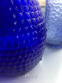 Cobalt Blue Spikey Diamond Cut Genie Bottle Decanter 1960s Glass Empoli MCM