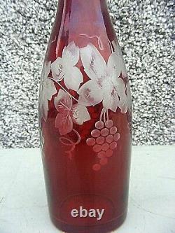 Cranberry Glass Decanter Grape Vine