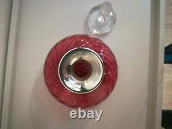 Cranberry Glass Decanter with Silver (925) collar