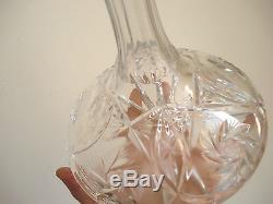 Crystal Ship Decanter Large Bohemian Czech cut glass MARKED mushroom top MINT