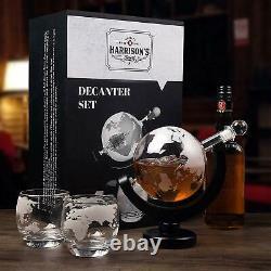 Crystal Whiskey Decanter Set Liquor Scotch Wine World Globe Glasses 9 Stone Gift