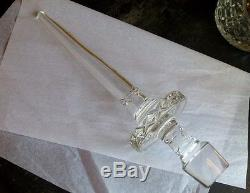 Crystal Wine Decanter extra large, amber cut to clear floral, dagger stoppers